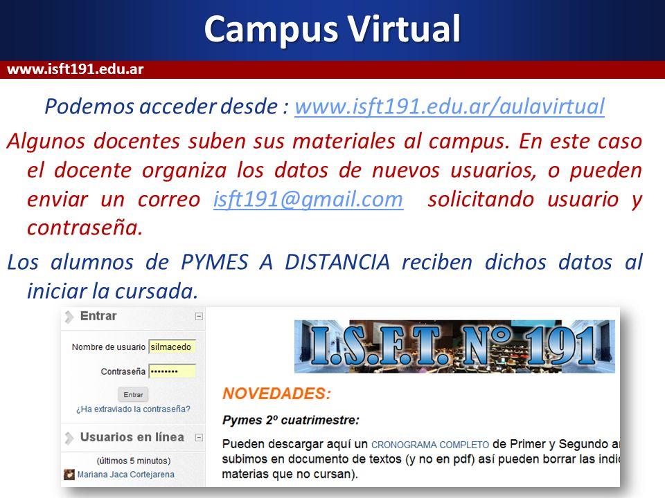 Campus Virtual www.isft191.edu.ar.