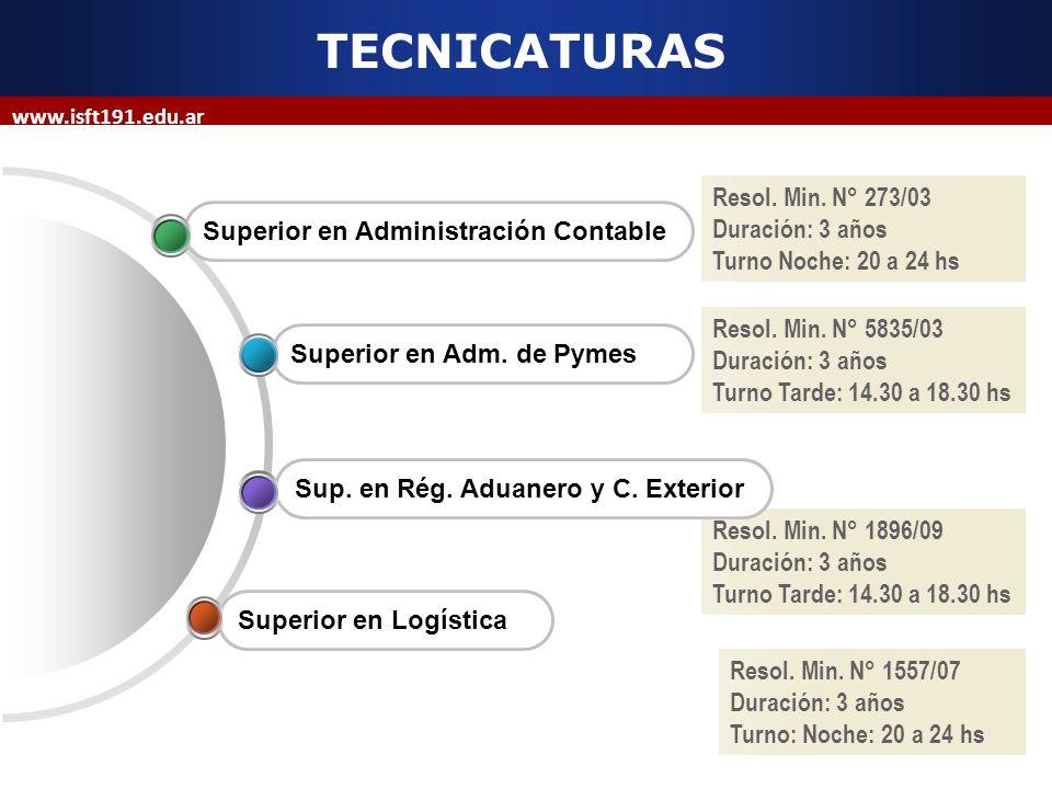 TECNICATURAS Resol. Min. N° 273/03 Duración: 3 años
