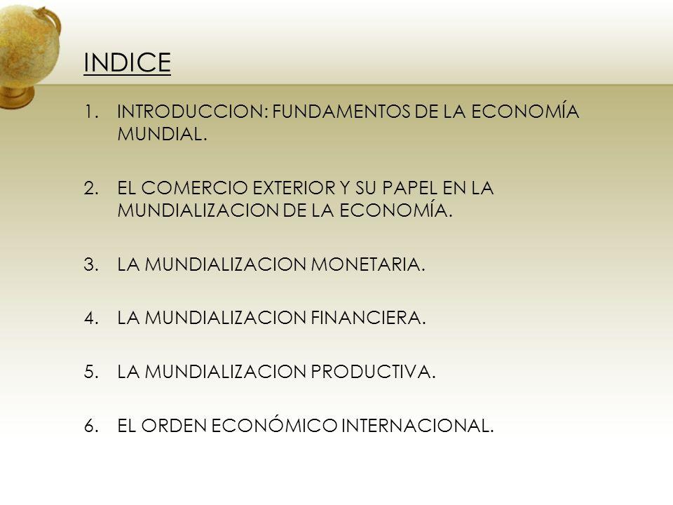 INDICE INTRODUCCION: FUNDAMENTOS DE LA ECONOMÍA MUNDIAL.