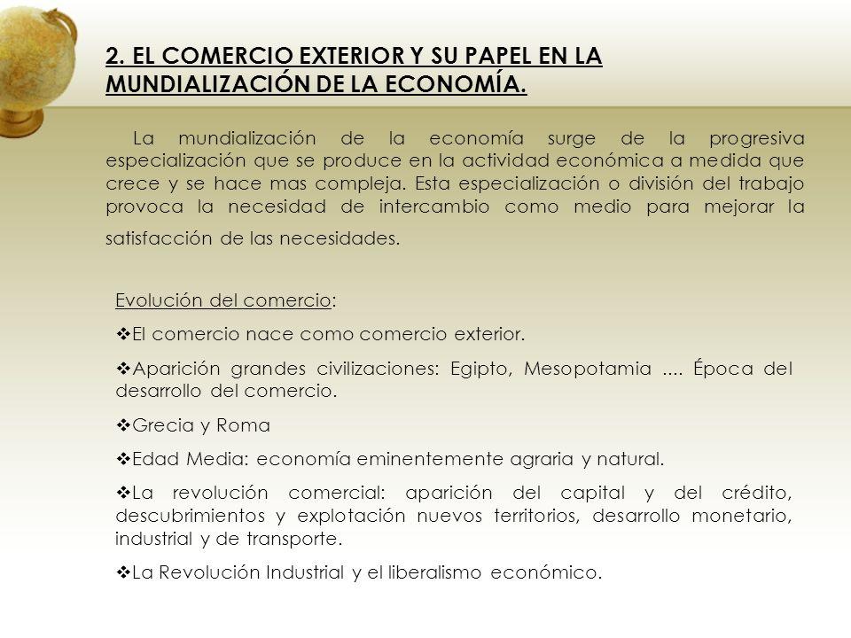 2. EL COMERCIO EXTERIOR Y SU PAPEL EN LA MUNDIALIZACIÓN DE LA ECONOMÍA.