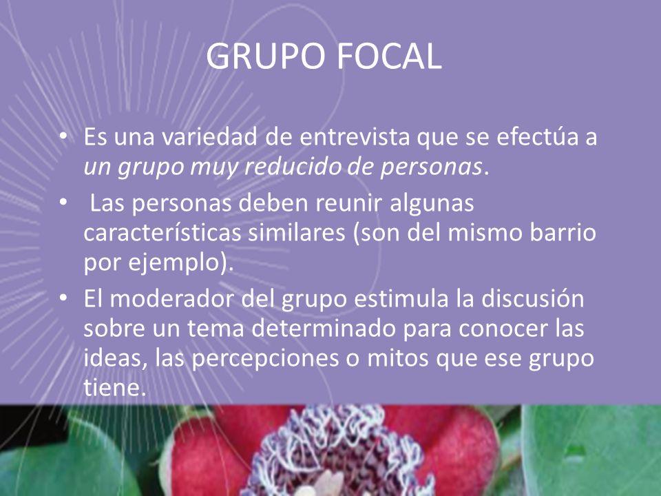 GRUPO FOCAL Es una variedad de entrevista que se efectúa a un grupo muy reducido de personas.