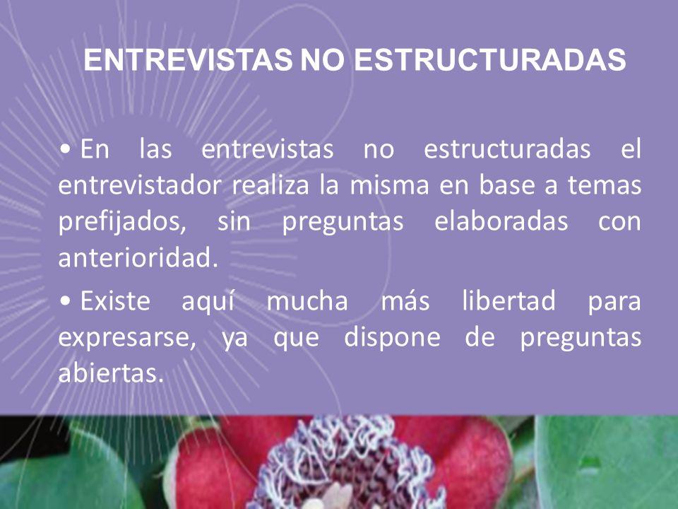 ENTREVISTAS NO ESTRUCTURADAS