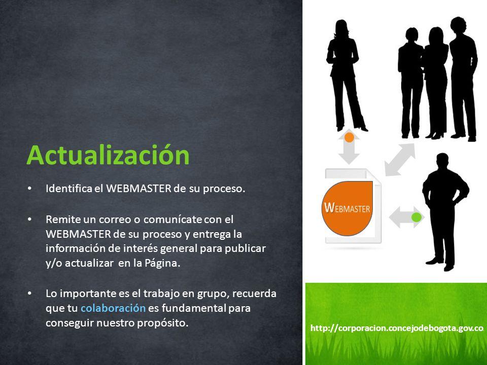 Actualización Identifica el WEBMASTER de su proceso.