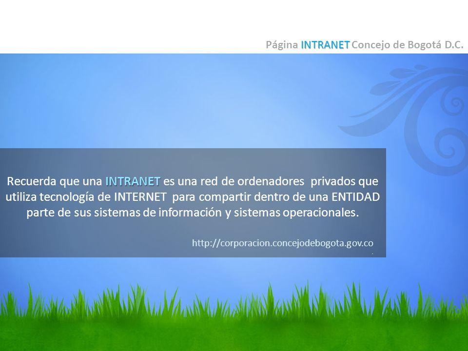 Página INTRANET Concejo de Bogotá D.C.