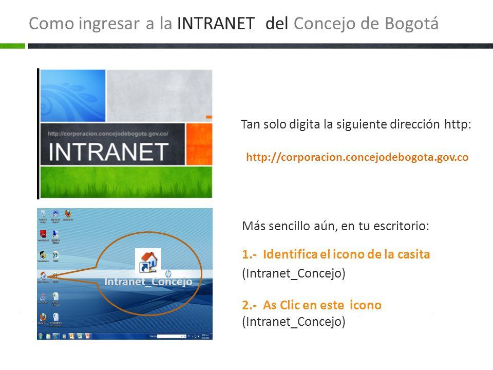 Como ingresar a la INTRANET del Concejo de Bogotá