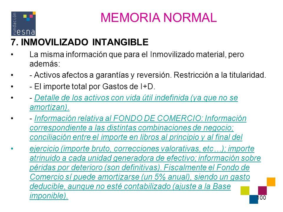 MEMORIA NORMAL 7. INMOVILIZADO INTANGIBLE