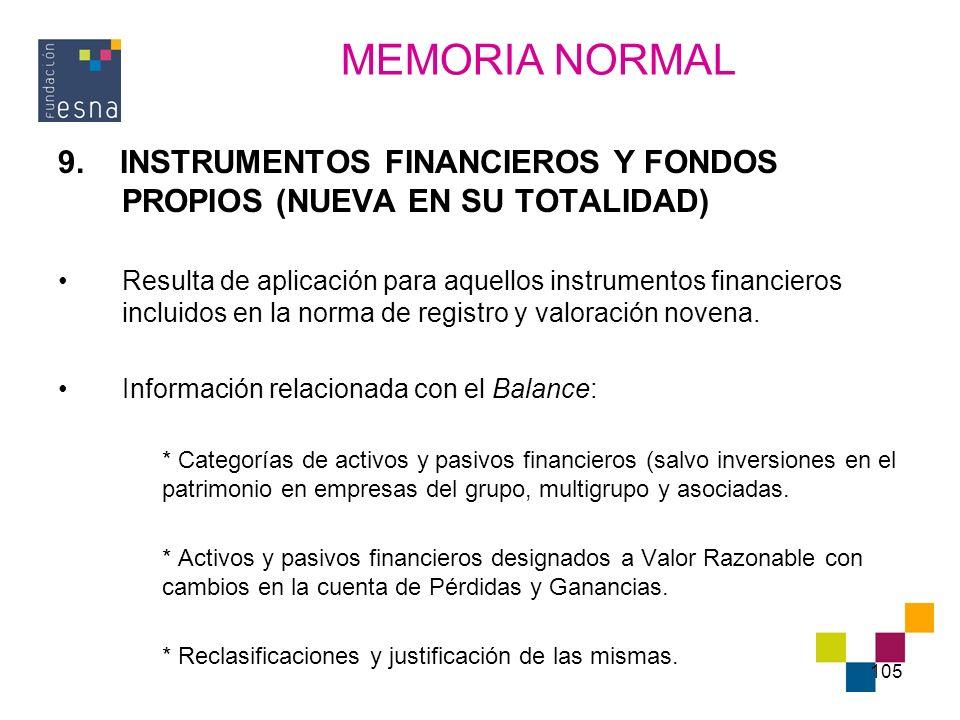 MEMORIA NORMAL 9. INSTRUMENTOS FINANCIEROS Y FONDOS PROPIOS (NUEVA EN SU TOTALIDAD)
