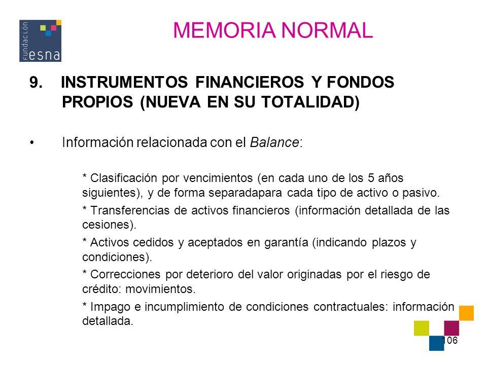 MEMORIA NORMAL 9. INSTRUMENTOS FINANCIEROS Y FONDOS PROPIOS (NUEVA EN SU TOTALIDAD) Información relacionada con el Balance: