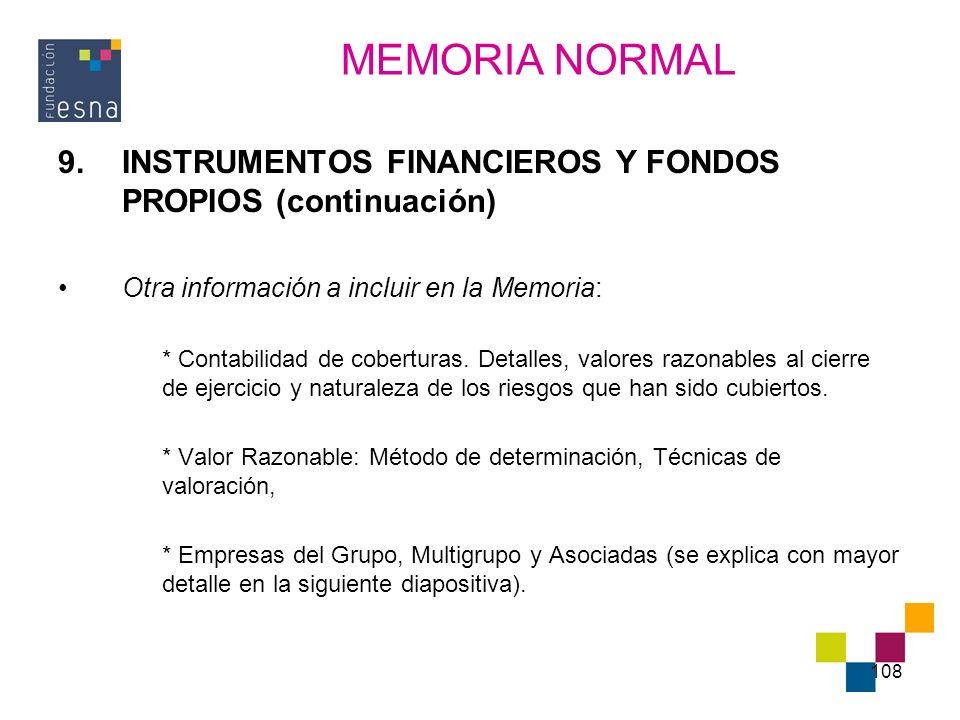 MEMORIA NORMAL INSTRUMENTOS FINANCIEROS Y FONDOS PROPIOS (continuación) Otra información a incluir en la Memoria: