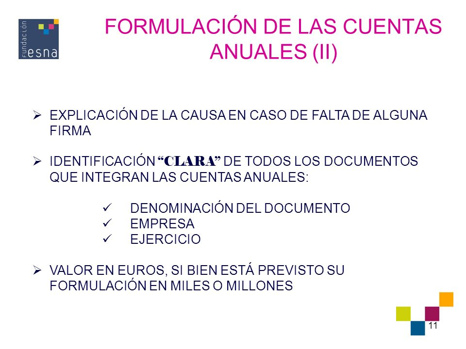FORMULACIÓN DE LAS CUENTAS ANUALES (II)