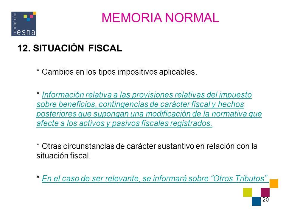 MEMORIA NORMAL 12. SITUACIÓN FISCAL