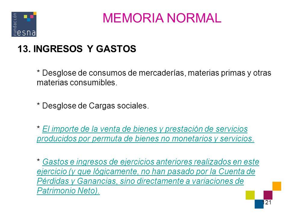MEMORIA NORMAL 13. INGRESOS Y GASTOS