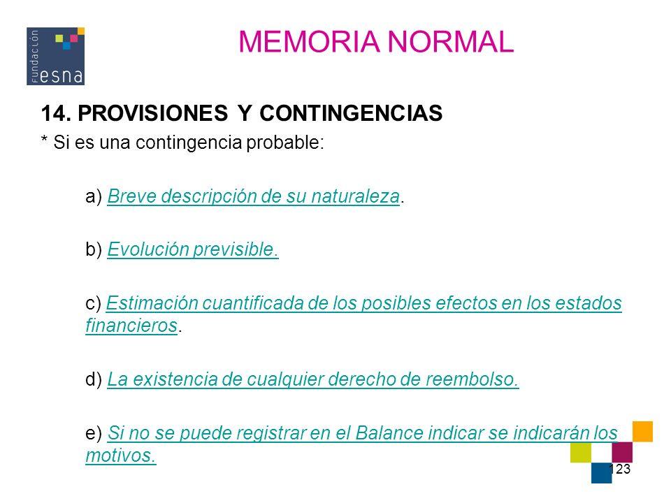 MEMORIA NORMAL 14. PROVISIONES Y CONTINGENCIAS
