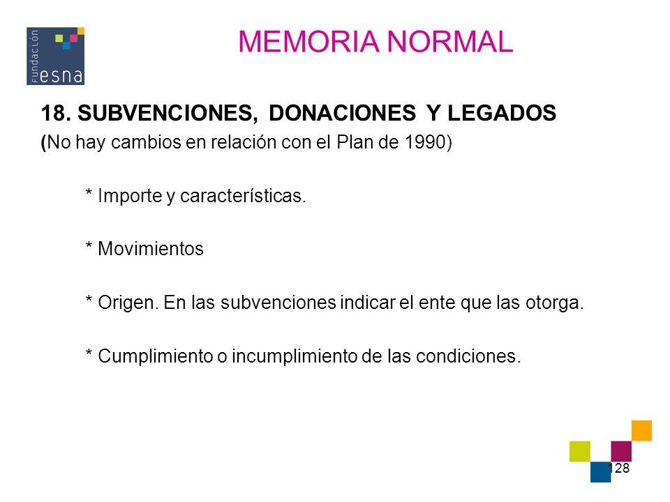 MEMORIA NORMAL 18. SUBVENCIONES, DONACIONES Y LEGADOS