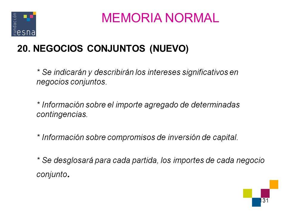 MEMORIA NORMAL 20. NEGOCIOS CONJUNTOS (NUEVO)
