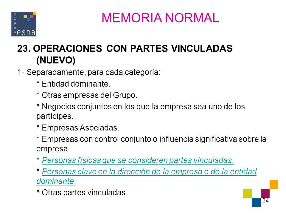 MEMORIA NORMAL 23. OPERACIONES CON PARTES VINCULADAS (NUEVO)