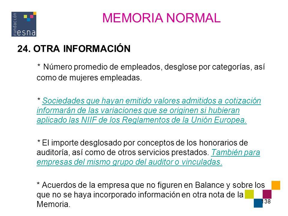 MEMORIA NORMAL 24. OTRA INFORMACIÓN. * Número promedio de empleados, desglose por categorías, así como de mujeres empleadas.