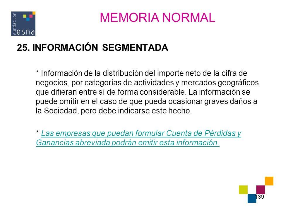 MEMORIA NORMAL 25. INFORMACIÓN SEGMENTADA