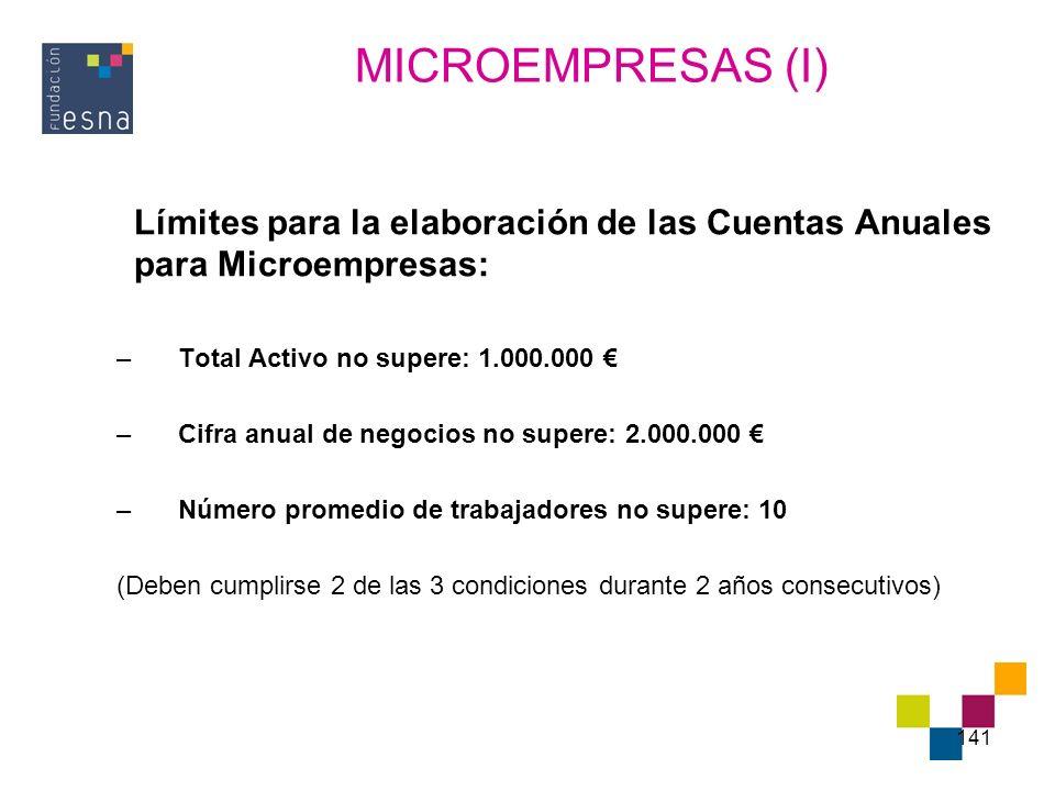 MICROEMPRESAS (I) Límites para la elaboración de las Cuentas Anuales para Microempresas: Total Activo no supere: 1.000.000 €