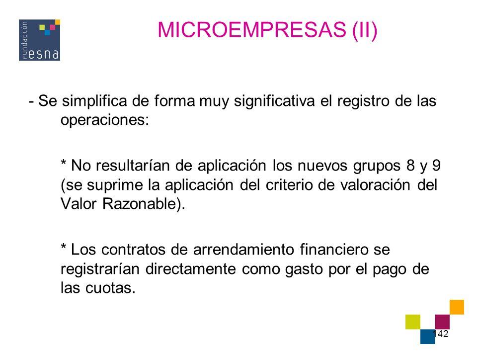 MICROEMPRESAS (II) - Se simplifica de forma muy significativa el registro de las operaciones: