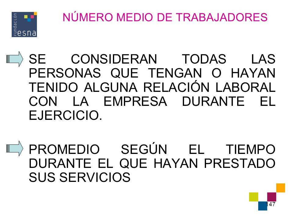 NÚMERO MEDIO DE TRABAJADORES