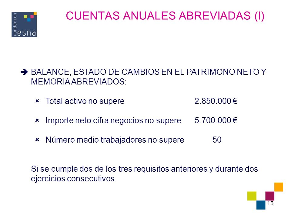 CUENTAS ANUALES ABREVIADAS (I)