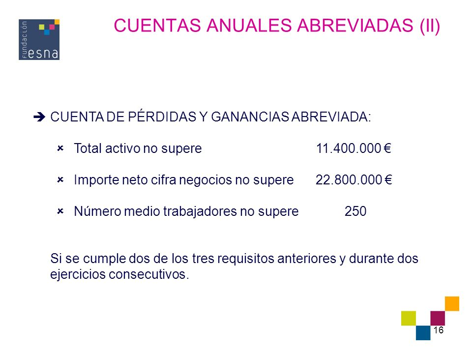 CUENTAS ANUALES ABREVIADAS (II)