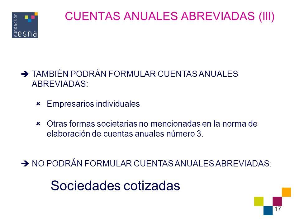 CUENTAS ANUALES ABREVIADAS (III)