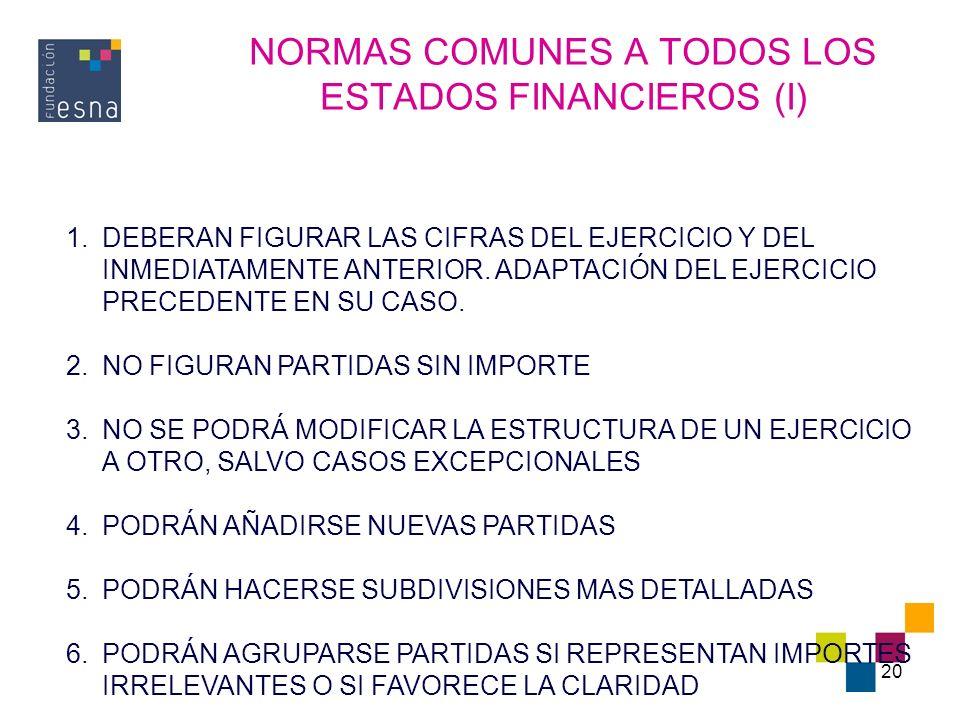 NORMAS COMUNES A TODOS LOS ESTADOS FINANCIEROS (I)