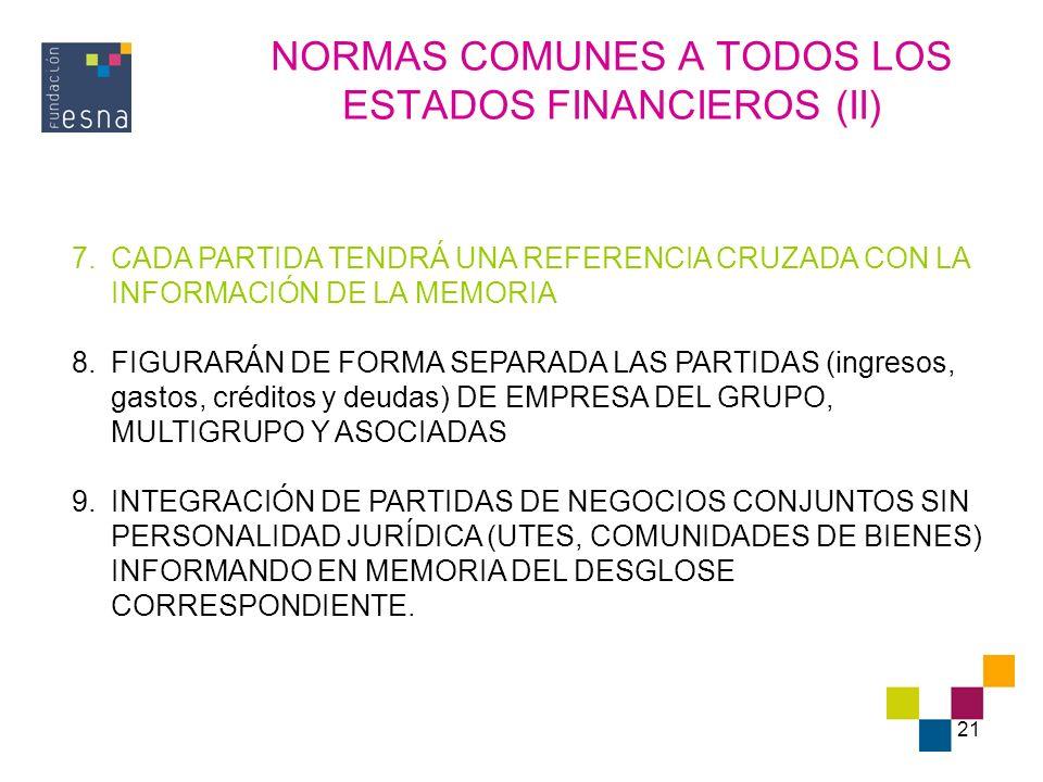 NORMAS COMUNES A TODOS LOS ESTADOS FINANCIEROS (II)