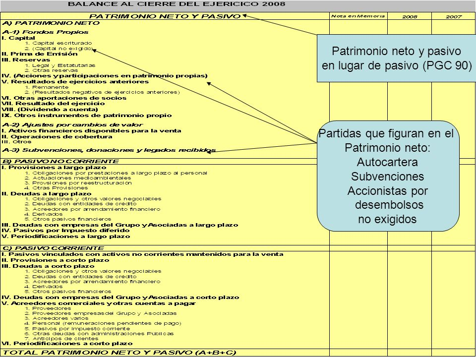 Patrimonio neto y pasivo en lugar de pasivo (PGC 90)