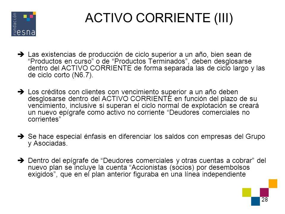 ACTIVO CORRIENTE (III)