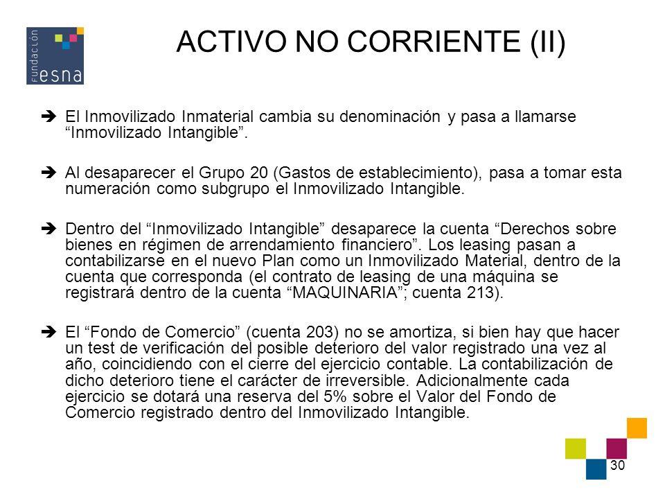 ACTIVO NO CORRIENTE (II)