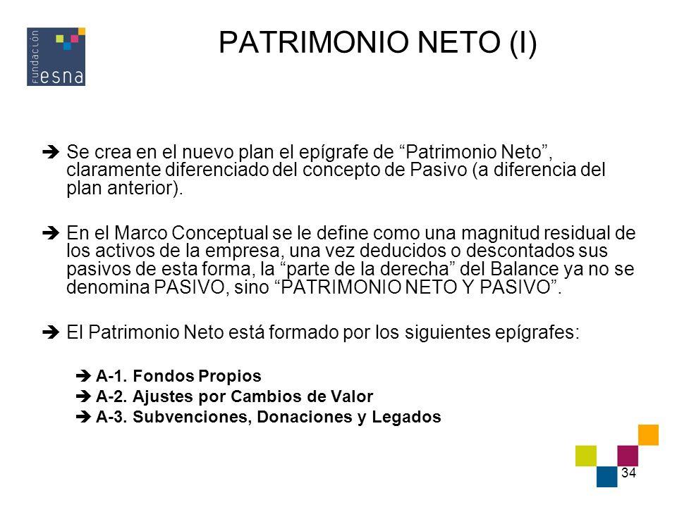 PATRIMONIO NETO (I)