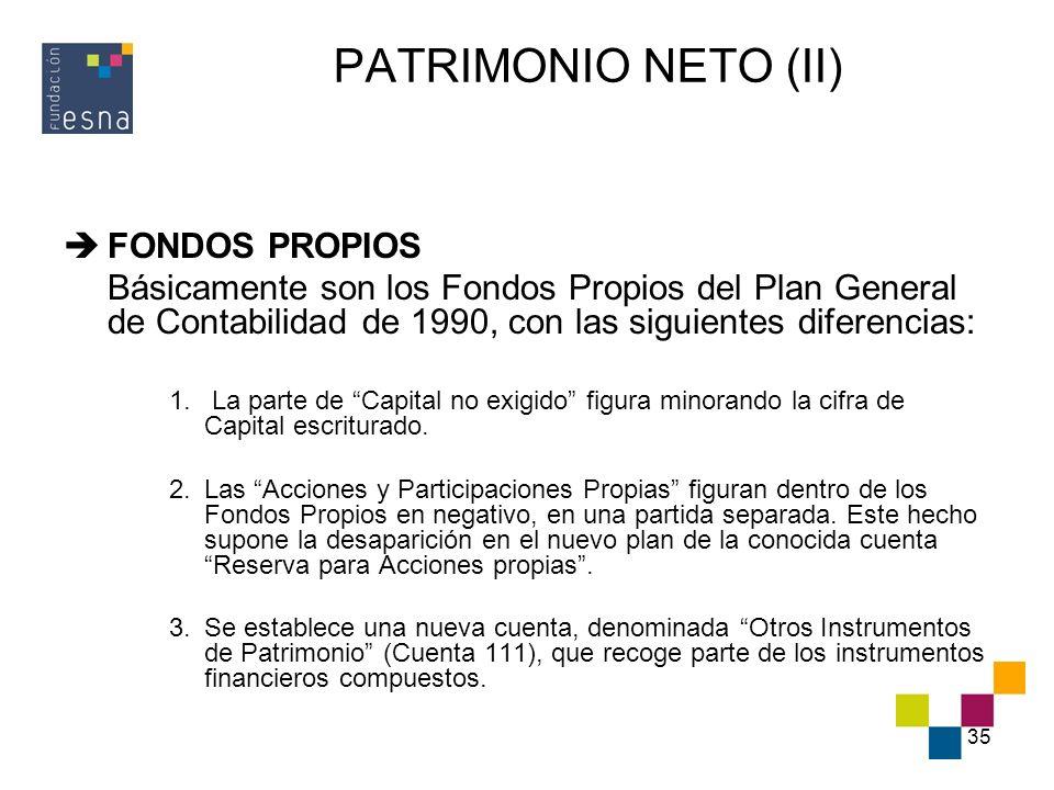 PATRIMONIO NETO (II) FONDOS PROPIOS