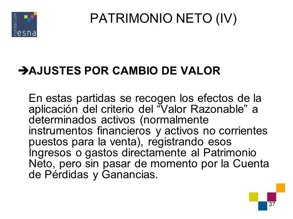 PATRIMONIO NETO (IV) AJUSTES POR CAMBIO DE VALOR