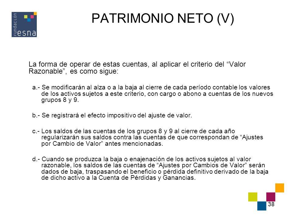 PATRIMONIO NETO (V) La forma de operar de estas cuentas, al aplicar el criterio del Valor Razonable , es como sigue: