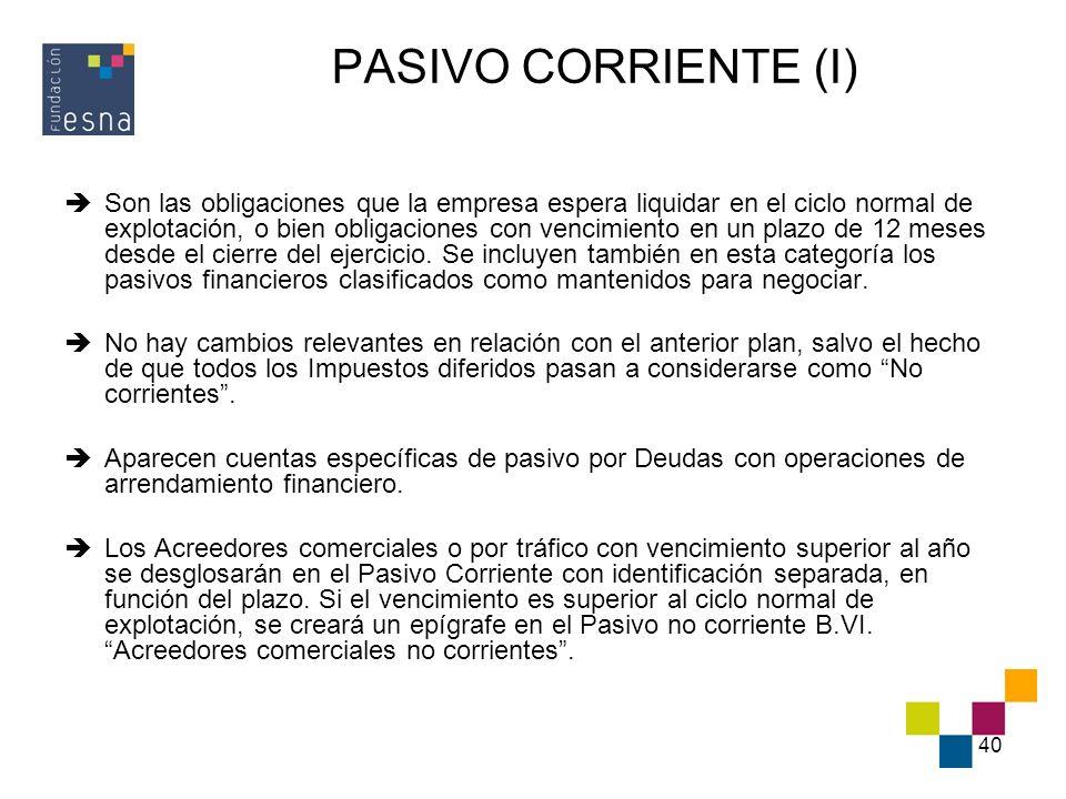 PASIVO CORRIENTE (I)