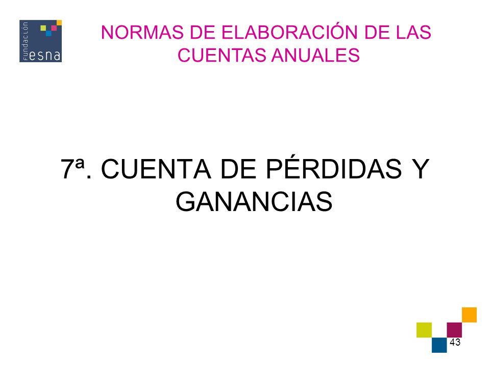 7ª. CUENTA DE PÉRDIDAS Y GANANCIAS
