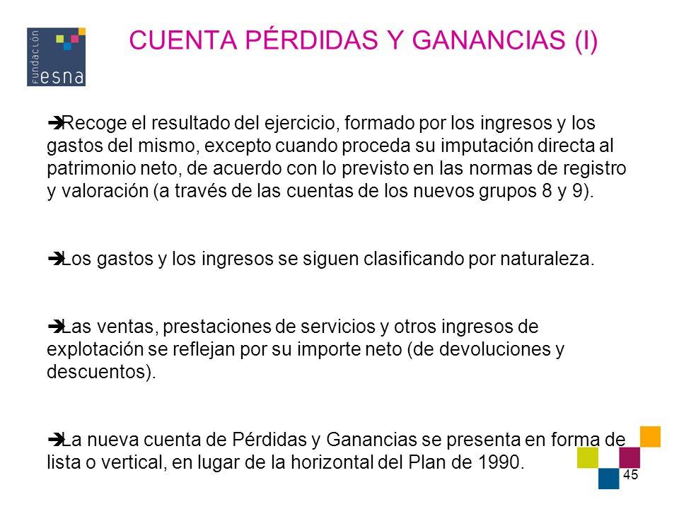 CUENTA PÉRDIDAS Y GANANCIAS (I)