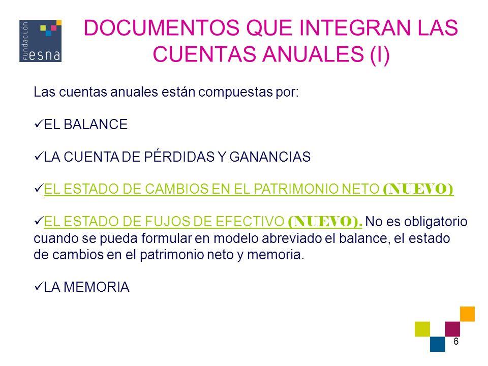 DOCUMENTOS QUE INTEGRAN LAS CUENTAS ANUALES (I)