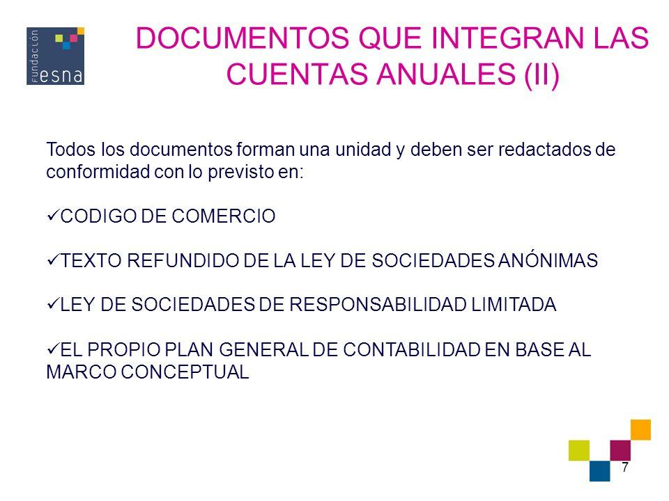 DOCUMENTOS QUE INTEGRAN LAS CUENTAS ANUALES (II)