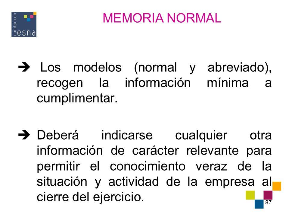 MEMORIA NORMAL Los modelos (normal y abreviado), recogen la información mínima a cumplimentar.