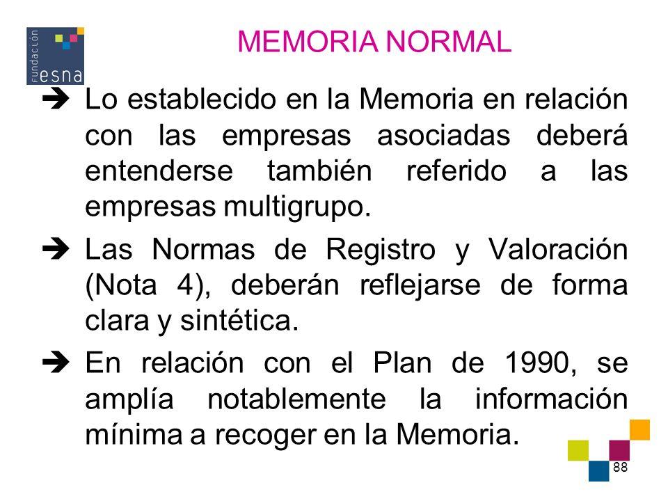 MEMORIA NORMAL Lo establecido en la Memoria en relación con las empresas asociadas deberá entenderse también referido a las empresas multigrupo.