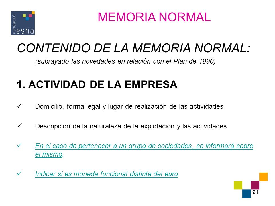 CONTENIDO DE LA MEMORIA NORMAL: