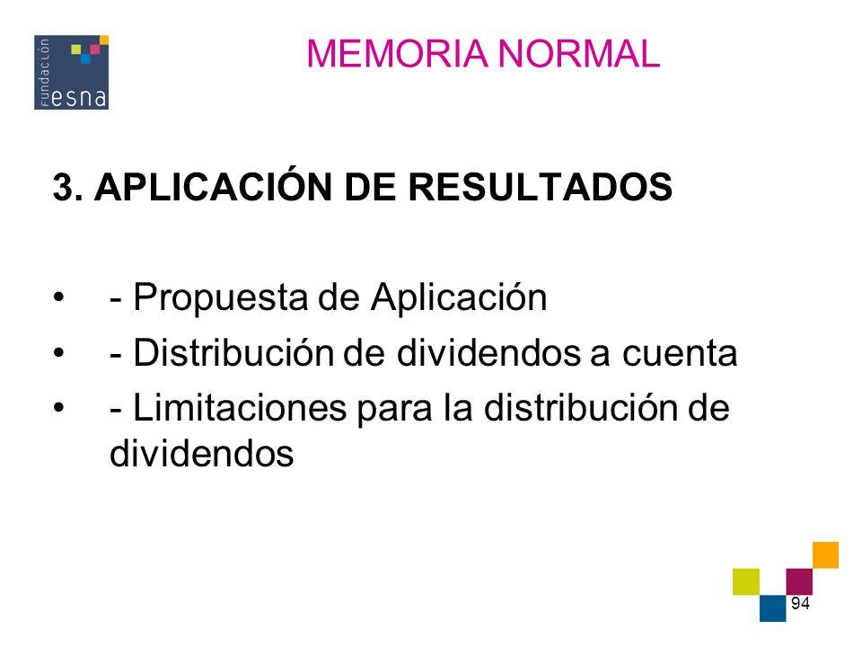 MEMORIA NORMAL 3. APLICACIÓN DE RESULTADOS. - Propuesta de Aplicación. - Distribución de dividendos a cuenta.