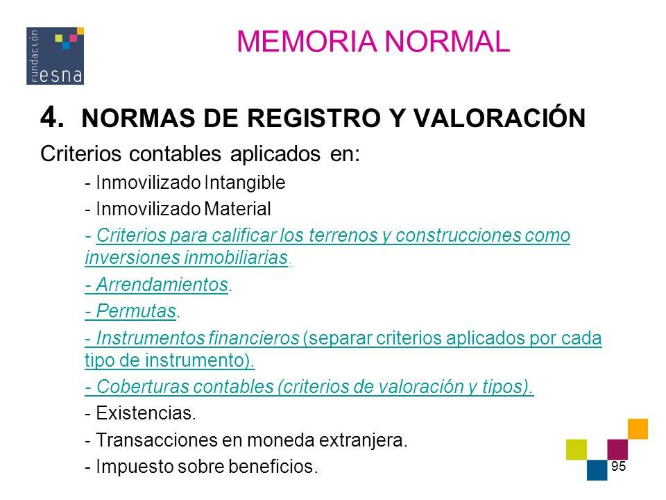 4. NORMAS DE REGISTRO Y VALORACIÓN