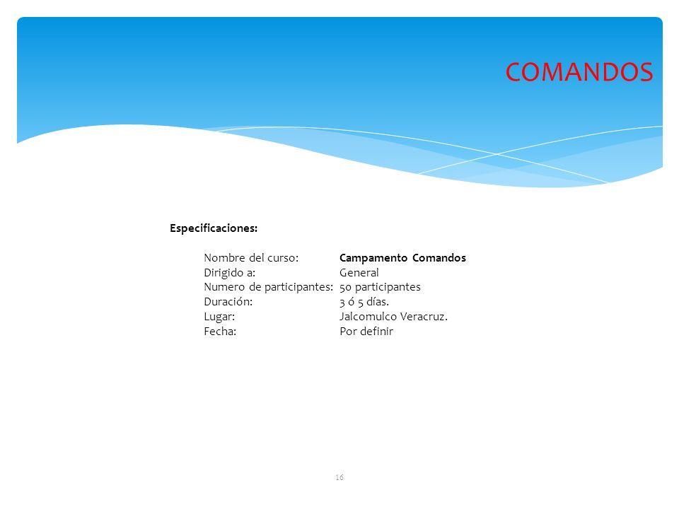 COMANDOS Especificaciones: Nombre del curso: Campamento Comandos