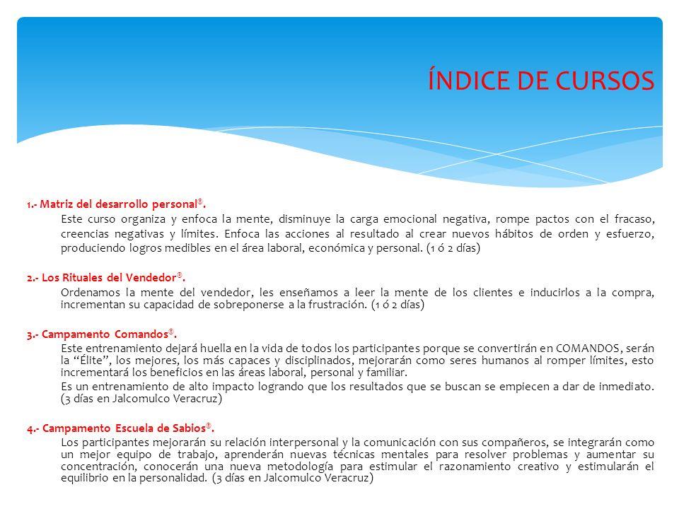 ÍNDICE DE CURSOS 1.- Matriz del desarrollo personal®.