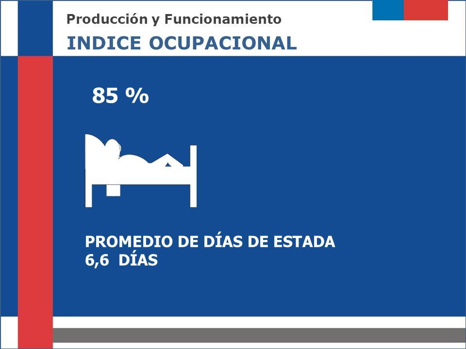85 % INDICE OCUPACIONAL PROMEDIO DE DÍAS DE ESTADA 6,6 DÍAS